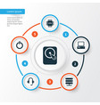 notebook icons set collection of database power vector image