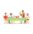 happy friends enjoying barbeque cheerful people vector image
