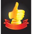 best choice award - golden hand - vector image