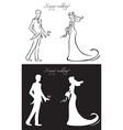 wedding day bride and groom vector image