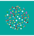 Different colorful medical pills capsules tablets vector image