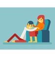 Happy Family Husband and Pregnant Wife Sitting on vector image