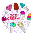 Ice Cream Set Color Dark vector image