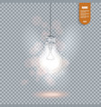 realistic image of glowing light bulb isolated vector image