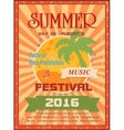 Summer music festival printable poster template or vector image