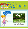 Flashcard letter V is for vegetation vector image