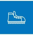 Hiking boot with crampons line icon vector image