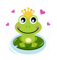 Frog prince with hearts vector image