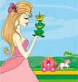 Beautiful young princess kissing a big frog vector image