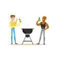two friends preparing barbecue on a grill and vector image