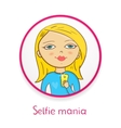 Selfie mania beautiful girl makes selfie in mirror vector image