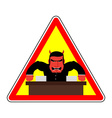 Danger sign Office label Beware of evil boss Angry vector image