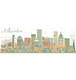 Abstract Milwaukee Skyline with Color Buildings vector image vector image
