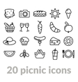 collection of picnic line icons vector image