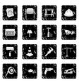 Architecture set icons grunge style vector image
