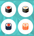 flat icon salmon set of sushi oriental japanese vector image