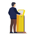 man using electronic self service payment system vector image
