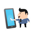 Shake hand With Smartphone vector image