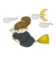 Witch is flying with broom on halloween vector image
