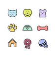Flat outline pets icon set for ui or web design vector image