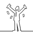 Business man cheering with money in his hands vector image