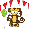 Funny brown monkey welcomes vector image