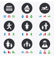 People family icons Swimming person signs vector image