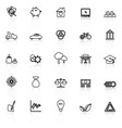 Sufficient economy line icons with reflect on vector image