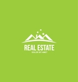 Flat real estate green house roof logo vector image