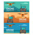 fly drone with remote control on background city vector image