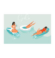 hand drawn cartoon summer time fun beach vector image