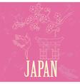 Japan landmarks Retro styled image vector image