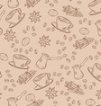 seamless aroma coffee pattern with cup beans and vector image