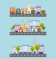 set of city building street tree architecture vector image