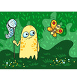 with cute monster and a butterfly on the vector image