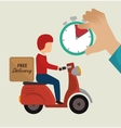 free delivery guy ride motorcycle icons vector image
