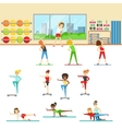 Women In Fitness Club Doing Different Workout vector image