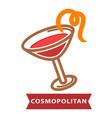 cocktail cosmopolitan of contemporary classics vector image