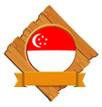 singapore flag on wooden board vector image