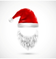 Accessories Santa Claus hat and beard eps 10 vector image