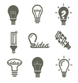 bulb idea icons set vector image vector image