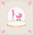 mother silhouette with baby stroller card vector image