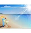 Summer beach juice and sunglasses vector image
