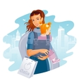 Young Mother with Baby Girl Shopping vector image
