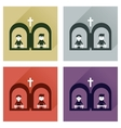 Concept of flat icons with long shadow priest s vector image