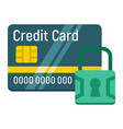 credit card with padlock flat icon protection vector image