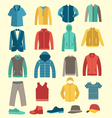 man flat icons men clothes and accessories vector image