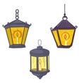 vintage street lanterns vector image
