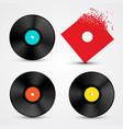 vinyl lp discs set retro music objects vector image