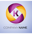 Letter K logo symbol in the colorful circle vector image
